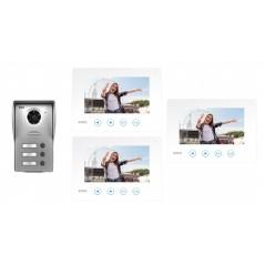 Wideodomofon Eura 4-rodzinny, czterorodzinny Jupiter biały monitor