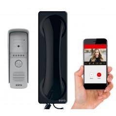 Wideodomofon WiFi Proxima czarna słuchawka Eura aplikacja mobilna