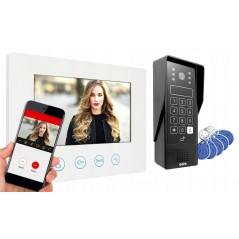 WIDEODOMOFON Eura DELTA, biały monitor, czarna kaseta, aplikacja WiFi