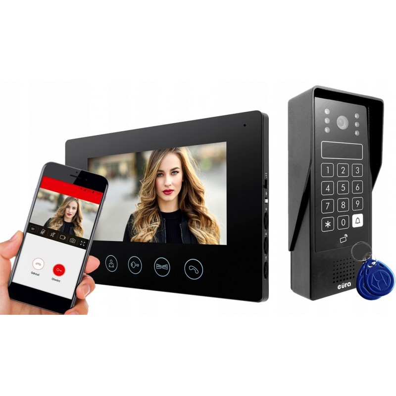 Wideodomofon WiFi Eura VDP-90A3 DELTA czarny monitor, czarna kaseta