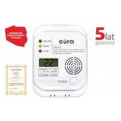 """Czujnik czadu """"Eura"""" CD-65A4 - LCD, bateryjny, wbudowany termometr"""