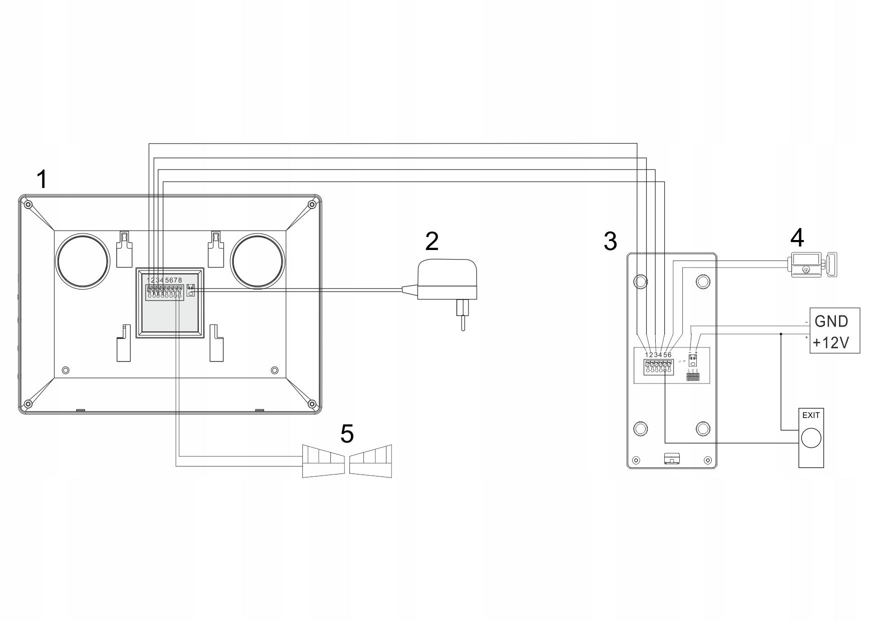 Schemat podłączeniowy wideodmofonu Feniks 80 Eura
