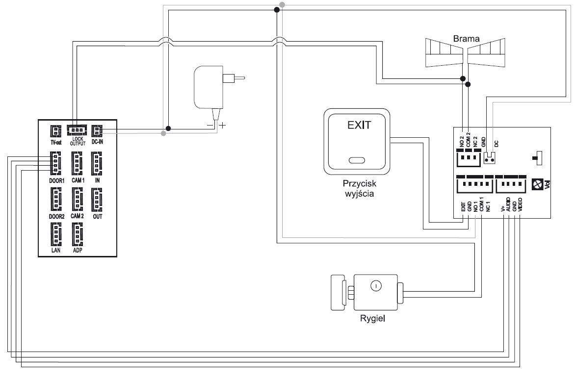 Schemat podłączeniowy wideodomofonu